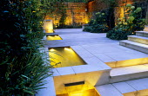 Contemporary garden, water feature