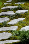 Stepping stone path, Chinese silver grey granite, moss, Ophiopogon japonicus 'Compactus'