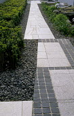 Crazy paving and granite sett path