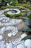 Seawave garden with pebble spiral