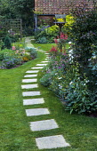 Stepping stone path, bird table