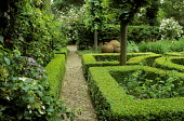 Formal garden, clipped box parterre, brick path, pithoi, Lime trees