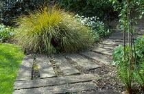 Curved path, railway sleepers