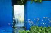 Mirror, waterfall, hostas, blue painted wall