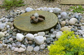 Millstone and pebble fountain
