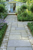 Off-set path, Indian stone pavers with brick edging, box border edging