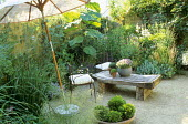 Parasol, gravel, butcher's block table, containers with thymes, chairs, bowl with box balls, Paulownia tomentosa