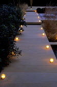 Lit path, tealight candles