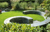 Coiled slate dry-stone wall, seating