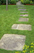 Stepping stone path across lawn