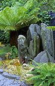Slate standing stone water feature, ferns