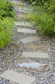 Stepping stone path through gravel
