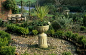 Cordyline australis in an urn, cobble and brick path, box hedge