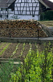 Half-timbered house, vegetable garden with raised beds, peas supported by twigs, onions, wooden log pile, Grentzingen, Alsace, France