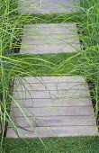 Decking panels, stepping stones, Miscanthus sinensis 'Gracillimus'