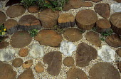 Detail of cut wooden log and ceramic paving, gravel