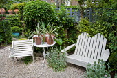 White painted bench, chair and table, phormiums in containers, seating area