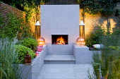 Outdoor fireplace, seating area with candles