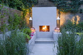 Outdoor fireplace, candles, lanterns