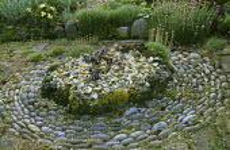 Circular pattern of pebbles around raised bed of crushed shells, Crambe maritima, Armeria maritima