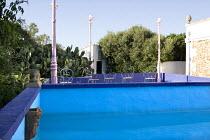 Swimming pool, pink lanterns