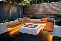 Seating area around lit brazier