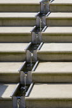 Metal rill down stone steps