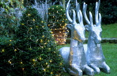 Silver reindeer, box shapes with fairy lights