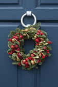Christmas wreath with fruit and berries