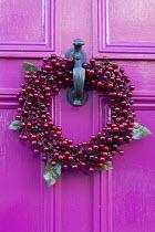 Christmas wreath with berries on pink door