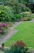 Lawn edged with paving stones