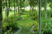 Serpentine grass path under trees, view to meadow, stone edging
