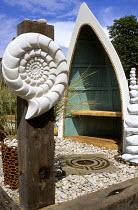 Boat seat, ammonite, pebbles
