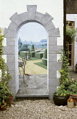 Trompe l'oeil mural of formal topiary garden by David Thomas