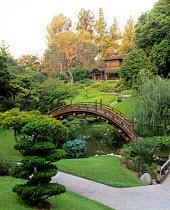 Bridge in Japanese Garden at The Huntington Gardens, Pasadena, CA