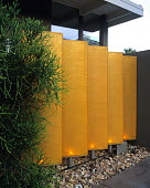Canvas screens in garden in Palm Springs designed by Steve Martino