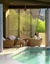 Terrace by pool, wicker furniture