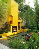 Yellow fireplace in Studio City