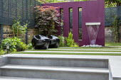 Steps to water feature on purple painted wall, Acer palmatum, black stools