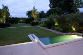 Contemporary town garden with lighting