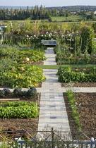 Overview of vegetable garden with pumpkins, bench
