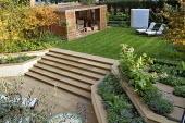Town garden with summerhouse and water feature, Nicotiana sylvestris