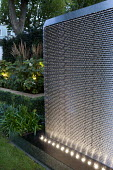 Stainless steel water wall lit with LED lights