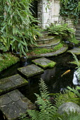 Stepping stones through pond to folly, ferns