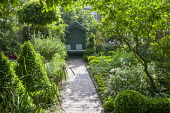 View to arbour, stone path