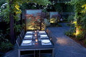 Table and chairs, Acer palmatum 'Burgundy Lace', backlit perspex screens, lighting, slate paving