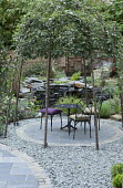 Table and chairs on circular patio beneath arbour of Sorbus aria trees