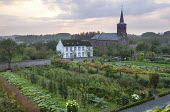 Walled garden with fruit vegetables and flowers, mixed grape vine, church