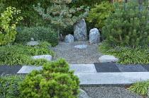 Japanese garden, rocks, conifers, Liriope muscari