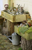 Troughs with collection of broken crockery, found objects and shells, watering can, spade and fork, objets trouvés